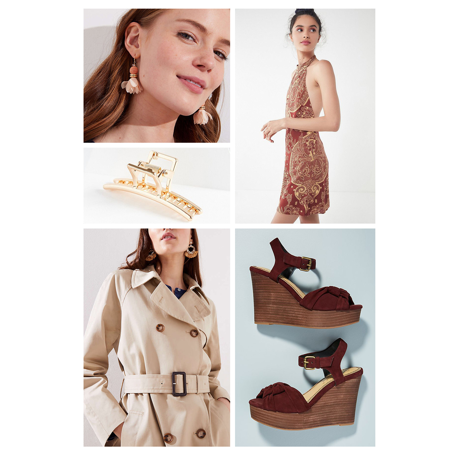 Fall lunch outfit idea - wear a rust printed halter mini dress, khaki trench coat, burgundy sandal wedges, peach statement earrings, and a gold claw clip in your hair!