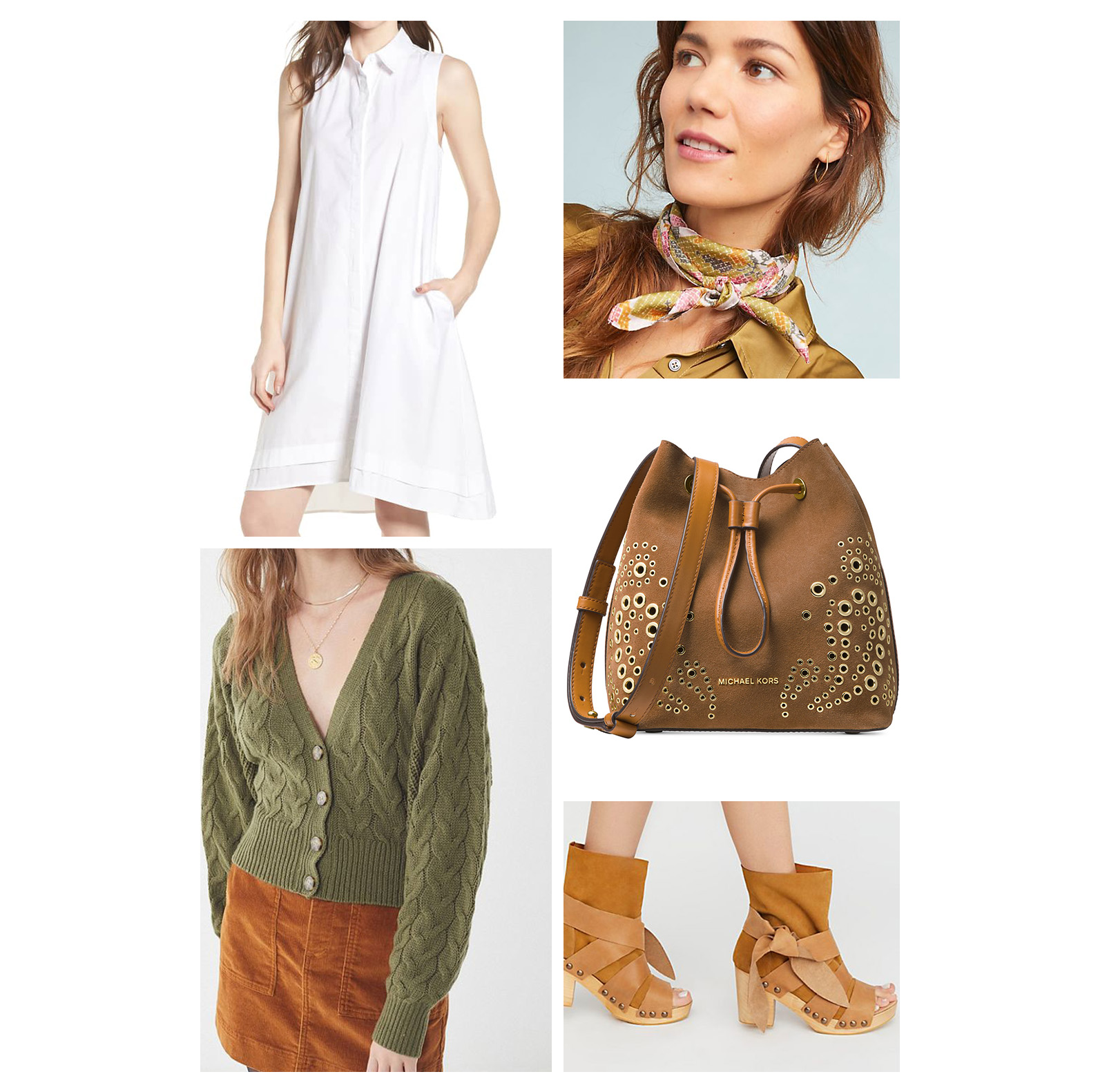 Fall lunch outfit idea - wear a white shirt dress, olive green cardigan, snakeskin print silk neck scarf, cognac bucket bag, and suede clog booties!