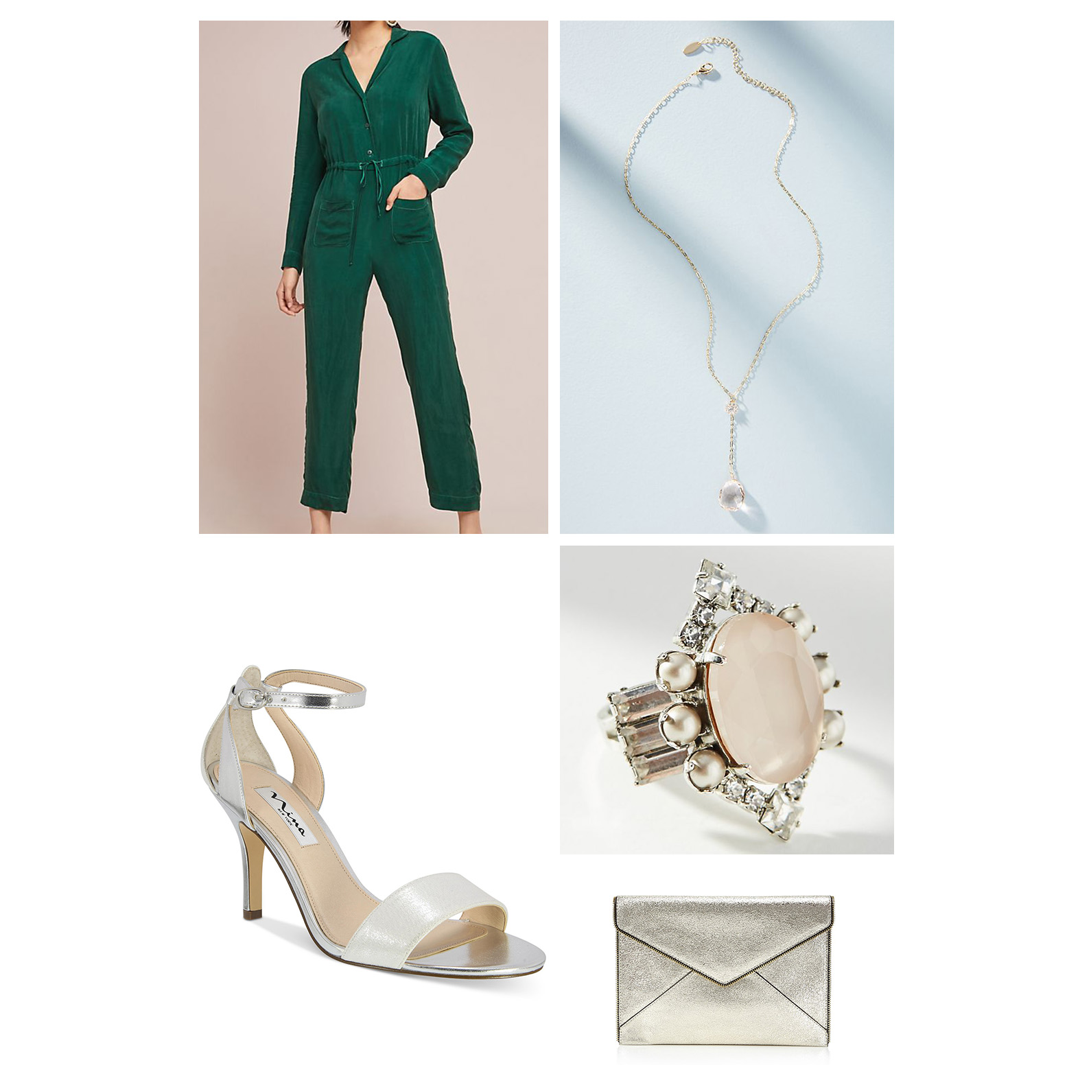 Fall dinner outfit idea - green jumpsuit, silver heel sandals, pendant necklace, cocktail ring, and silver clutch!