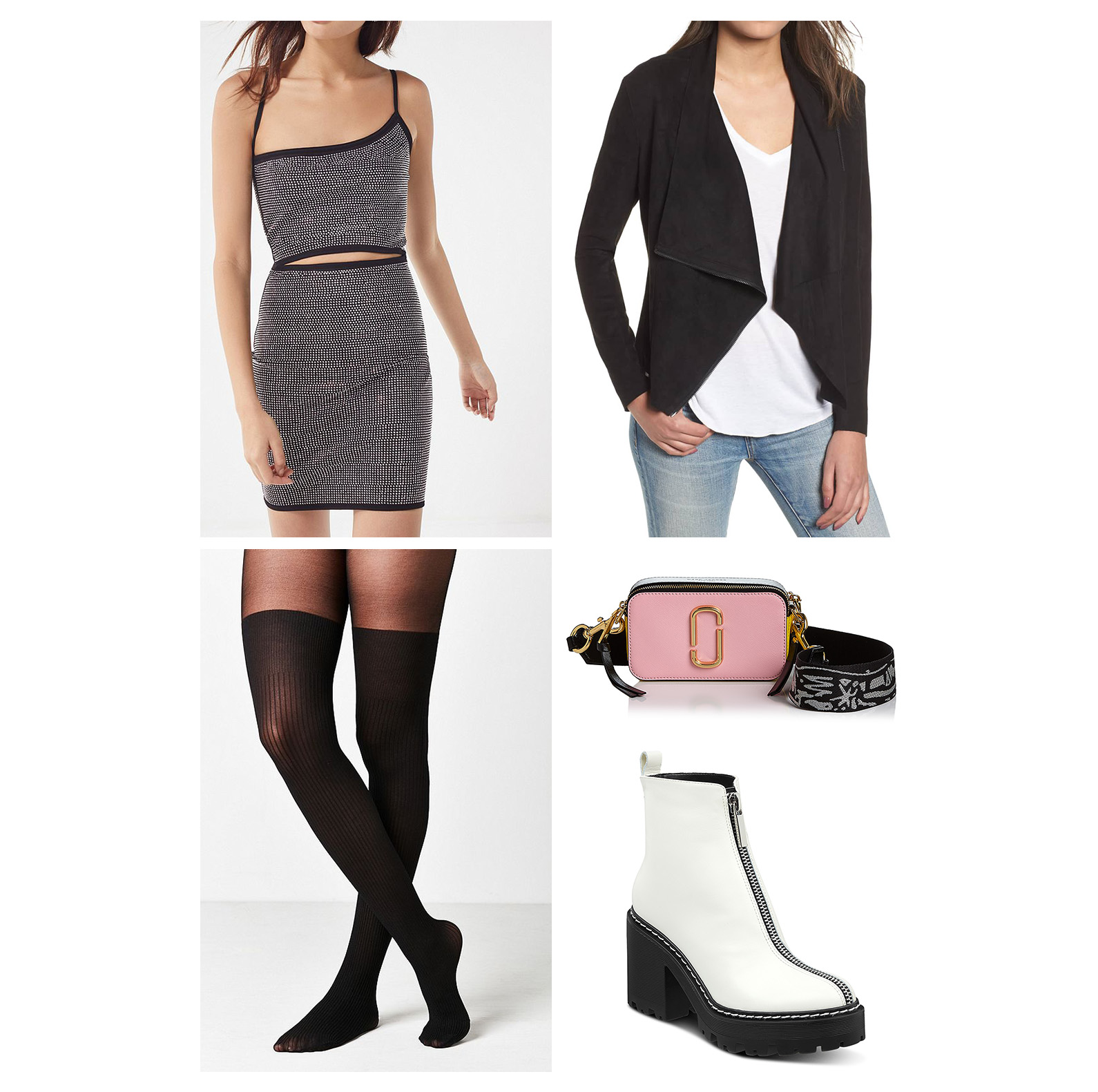 Fall dinner outfit idea - black bodycon dress, thigh-high tights, pink camera bag, black jacket, and white chunky combat booties!