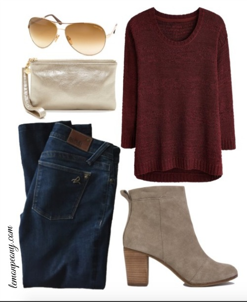 blue-navy-skinny-jeans-burgundy-sweater-tan-shoe-booties-tan-bag-clutch-sun-howtowear-valentinesday-outfit-fall-winter-weekend.jpg