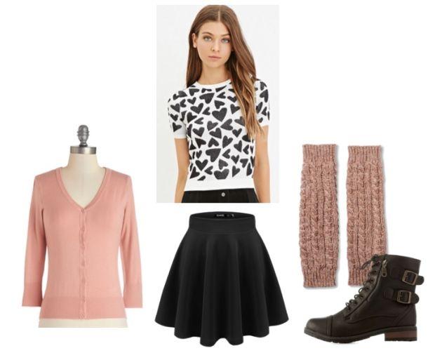 black-mini-skirt-white-top-heart-print-legwarmers-black-shoe-booties-pink-light-cardigan-howtowear-valentinesday-outfit-fall-winter-weekend.jpg