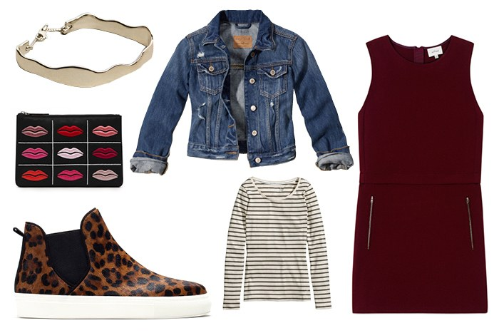 burgundy-dress-shift-layer-white-tee-stripe-blue-med-jacket-jean-cognac-shoe-sneakers-leopard-print-howtowear-valentinesday-outfit-fall-winter-lunch.jpg