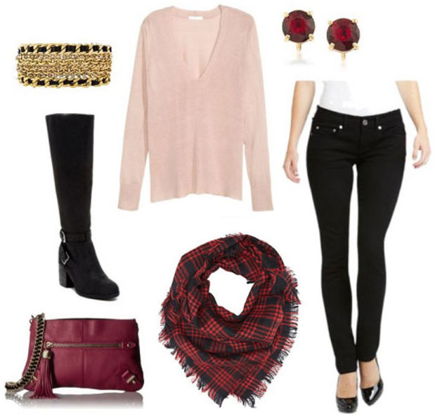 black-skinny-jeans-pink-light-sweater-studs-bracelet-red-scarf-plaid-black-shoe-boots-burgundy-bag-howtowear-valentinesday-outfit-fall-winter-lunch.jpg