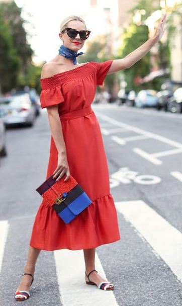 red-dress-midi-peasant-offshoulder-blue-med-scarf-neck-blonde-sun-blue-bag-clutch-howtowear-valentinesday-outfit-fall-winter-dinner.jpg