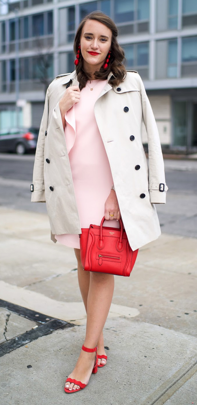 pink-light-dress-mini-shift-tan-jacket-coat-trench-red-bag-earrings-hairr-red-shoe-sandalh-howtowear-valentinesday-outfit-fall-winter-dinner.jpg