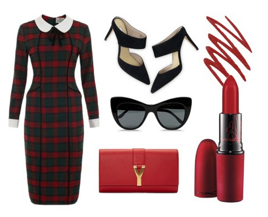 red-dress-bodycon-plaid-red-bag-black-shoe-pumps-sun-howtowear-valentinesday-outfit-fall-winter-dinner.jpg