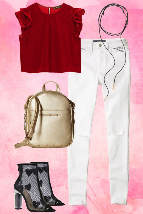 white-skinny-jeans-red-top-blouse-black-shoe-booties-tan-bag-pack-gold-choker-howtowear-valentinesday-outfit-fall-winter-dinner.jpg