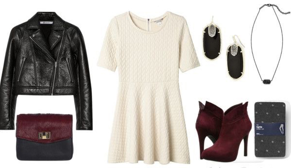 white-dress-sweater-mini-earrings-burgundy-shoe-booties-black-jacket-moto-gray-tights-necklace-burgundy-bag-howtowear-valentinesday-outfit-fall-winter-dinner.jpg