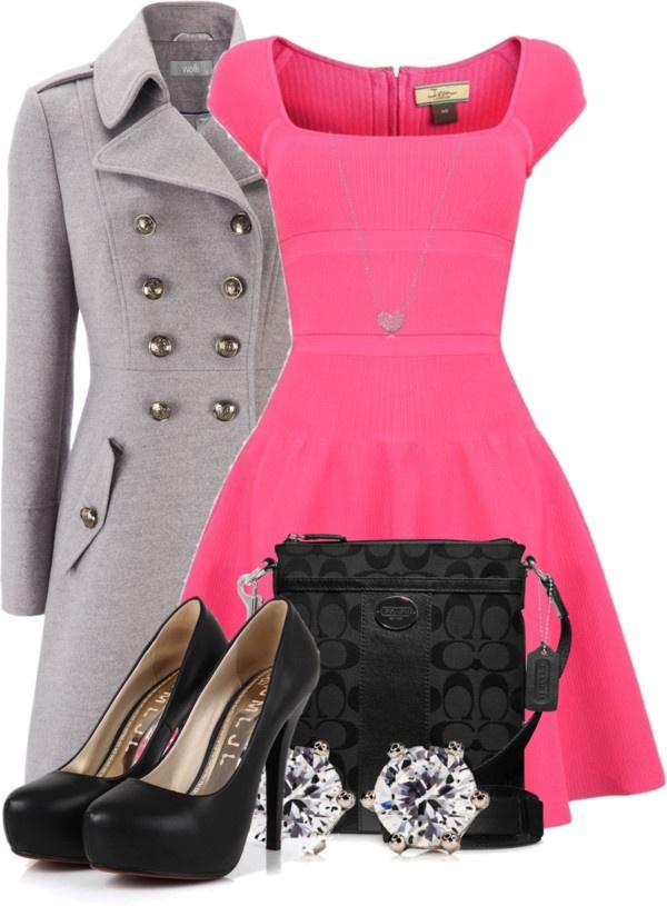 pink-magenta-dress-aline-black-bag-black-shoe-pumps-studs-grayl-jacket-coat-howtowear-valentinesday-outfit-fall-winter-dinner.jpg