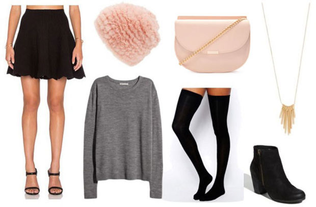 black-mini-skirt-grayl-sweater-pink-bag-beanie-black-shoe-booties-necklace-socks-howtowear-valentinesday-outfit-fall-winter-dinner.jpg