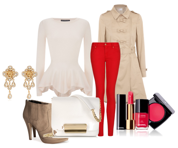 red-skinny-jeans-tan-jacket-coat-trench-white-top-peplum-tan-shoe-booties-white-bag-nail-earrings-howtowear-valentinesday-outfit-fall-winter-dinner.jpg