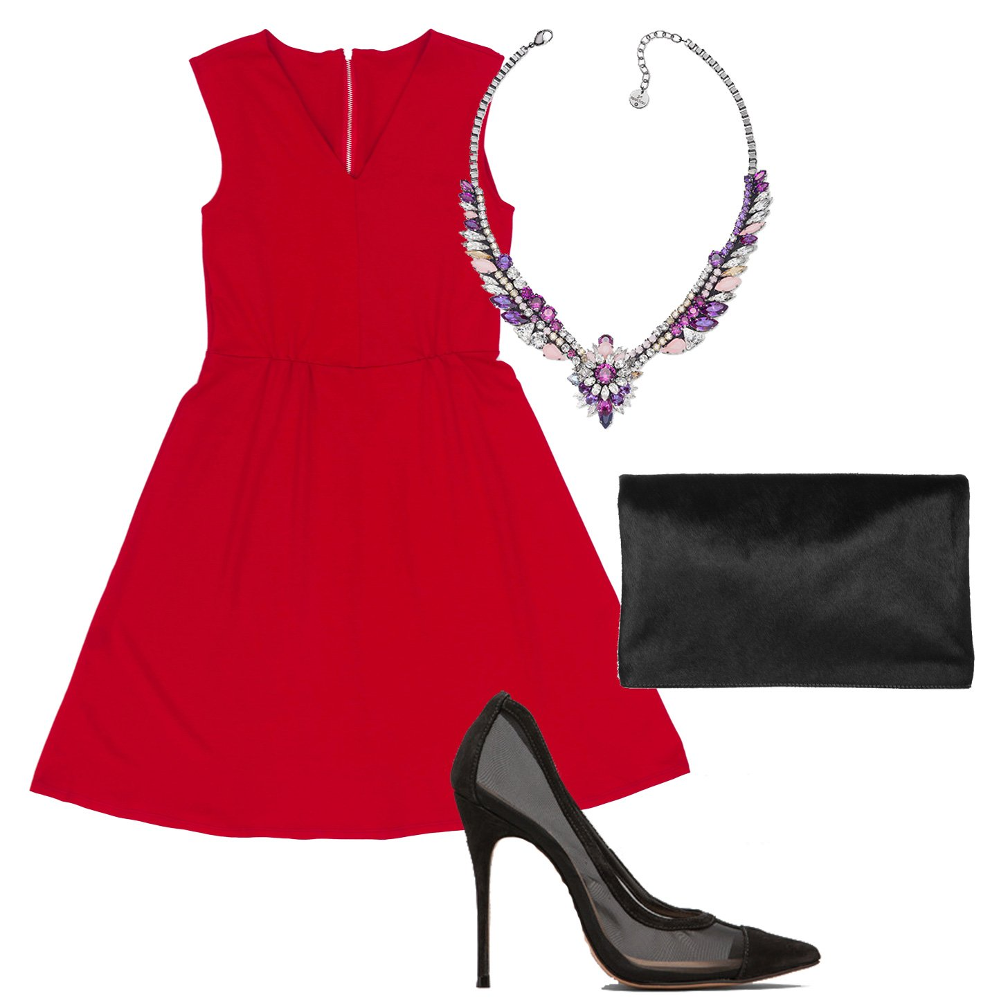 red-dress-aline-black-shoe-pumps-bib-necklace-black-bag-clutch-howtowear-valentinesday-outfit-fall-winter-dinner.jpg