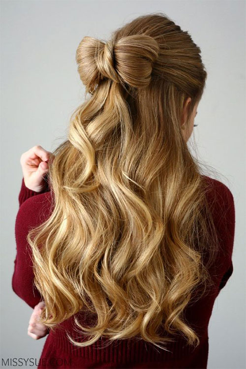 hair-styles-what-to-wear-valentines-day-dinner-holiday-outfits-winter-blonde-halfup-bow-wavy.jpg
