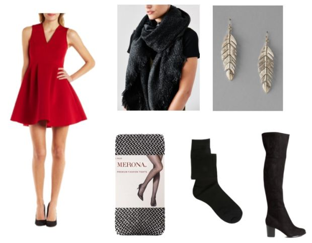 red-dress-mini-black-scarf-black-shoe-boots-earrings-black-tights-howtowear-valentinesday-outfit-fall-winter-dinner.jpg