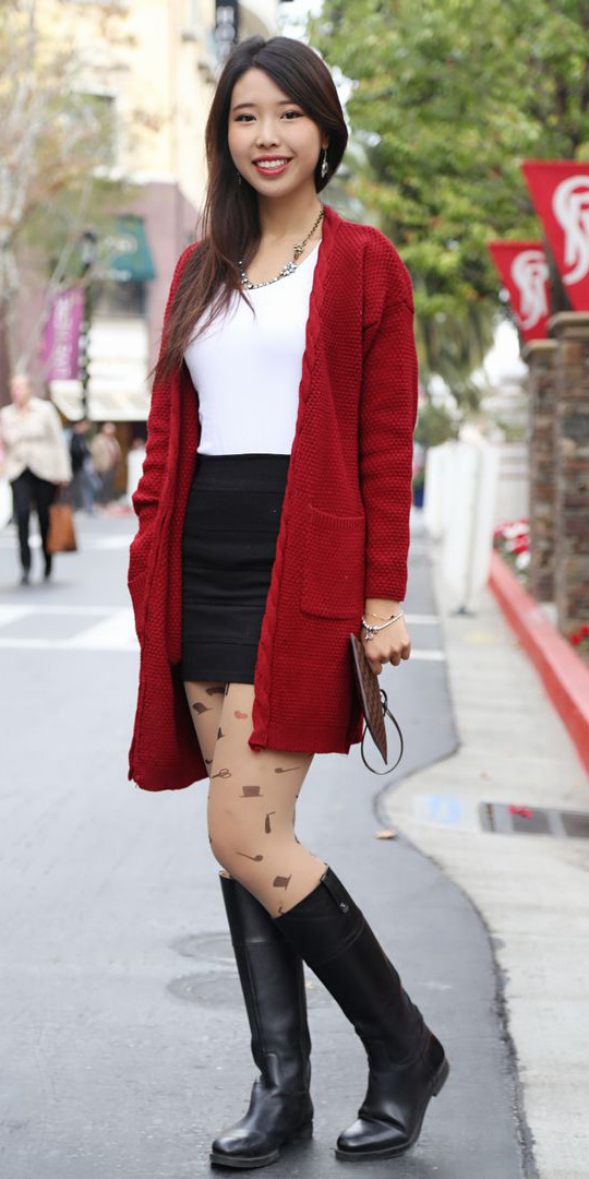 black-mini-skirt-tan-tights-print-white-tee-black-shoe-boots-necklace-valentinesday-red-cardiganl-fall-winter-brun-lunch.jpg
