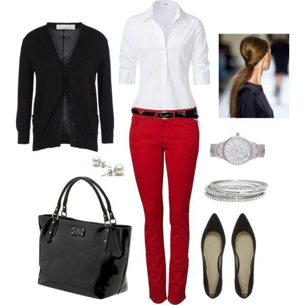 red-skinny-jeans-white-collared-shirt-pony-black-shoe-pumps-black-bag-tote-watch-belt-valentinesday-black-cardigan-fall-winter-hairr-work.jpg