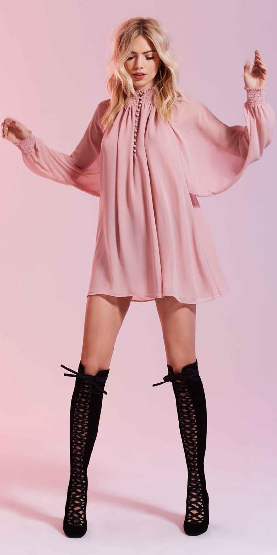 pink-light-dress-mini-peasant-black-shoe-boots-laceup-valentinesday-fall-winter-blonde-dinner.jpg