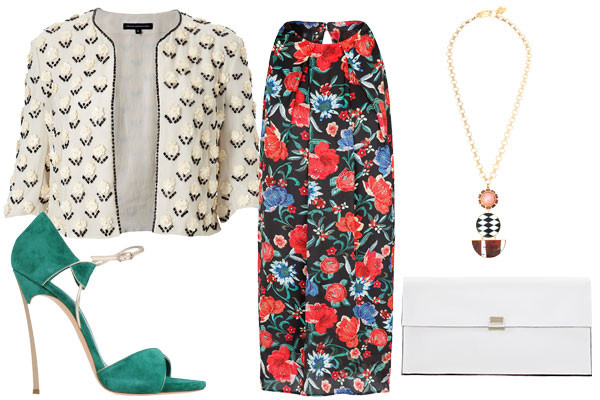 what-to-wear-for-a-spring-wedding-guest-outfit-red-dress-shift-floral-print-white-cardigan-mix-prints-necklace-pend-white-bag-clutch-green-shoe-sandalh-lunch.jpg