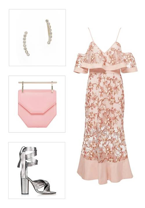 what-to-wear-for-a-spring-wedding-guest-outfit-pink-light-dress-midi-offshoulder-pink-bag-earcuff-gray-shoe-sandalh-metallic-dinner.jpg