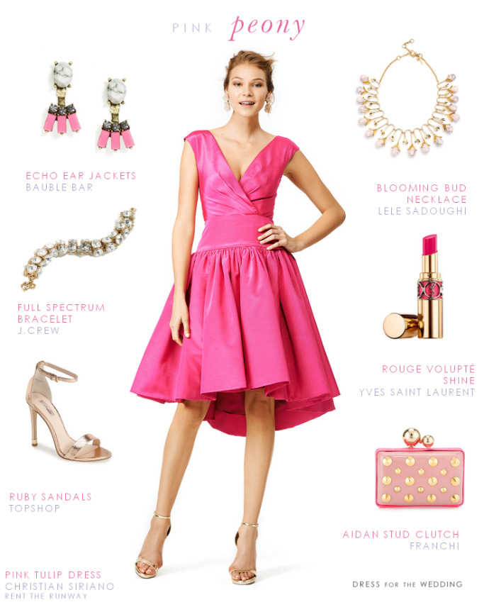 what-to-wear-for-a-spring-wedding-guest-outfit-pink-magenta-dress-aline-earrings-bib-necklace-tan-shoe-sandalh-gold-dinner.jpg