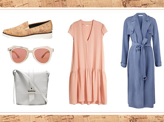 what-to-wear-for-a-spring-wedding-guest-outfit-peach-dress-tshirt-swing-blue-med-jacket-coat-trench-tan-shoe-loafers-cork-sun-white-bag-lunch.jpg