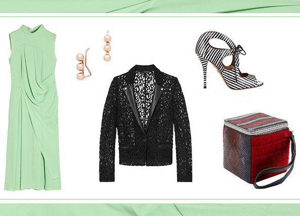 what-to-wear-for-a-spring-wedding-guest-outfit-green-light-dress-midi-black-jacket-blazer-lace-earrings-white-shoe-sandalh-red-bag-dinner.jpg