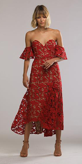 what-to-wear-for-a-spring-wedding-guest-outfit-red-dress-midi-offshoulder-lace-blonde-bob-tan-shoe-sandalh-date-valentines-dinner.jpg
