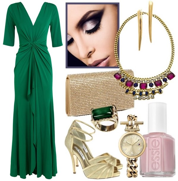 what-to-wear-for-a-spring-wedding-guest-outfit-green-emerald-dress-maxi-bib-necklace-tan-bag-clutch-ring-nail-watch-tan-shoe-sandalh-dinner.jpg