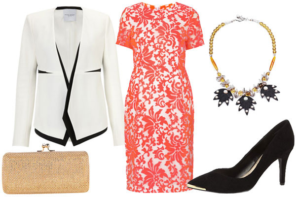 what-to-wear-for-a-spring-wedding-guest-outfit-church-orange-dress-shift-lace-white-jacket-blazer-tan-bag-clutch-black-shoe-pumps-bib-necklace-dinner.jpg