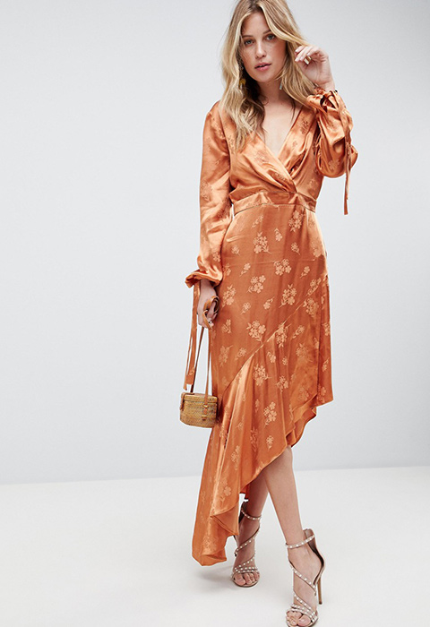what-to-wear-for-a-spring-wedding-guest-outfit-orange-dress-peasant-midi-tan-shoe-sandalh-blonde-dinner.jpg