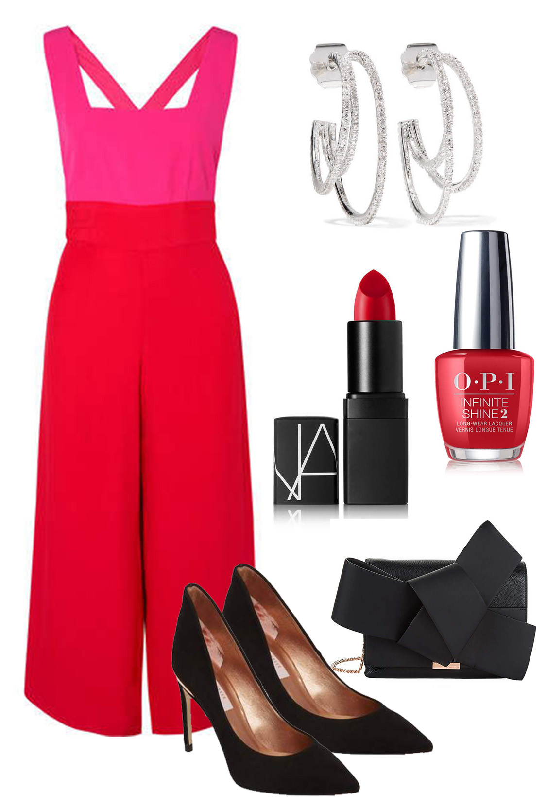 what-to-wear-for-a-spring-wedding-guest-outfit-red-jumpsuit-black-shoe-pumps-black-bag-hoops-nails-dinner.jpg