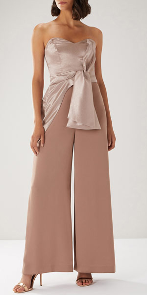 what-to-wear-for-a-spring-wedding-guest-outfit-pink-light-jumpsuit-strapless-tan-shoe-sandalh-gold-dinner.jpg