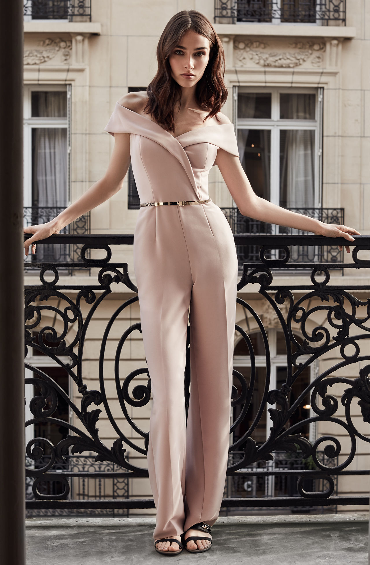 what-to-wear-for-a-spring-wedding-guest-outfit-tan-jumpsuit-hairr-blush-dinner.jpg