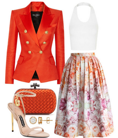 what-to-wear-for-a-spring-wedding-guest-outfit-white-midi-skirt-floral-print-white-crop-top-orange-jacket-blazer-tan-shoe-sandalh-studs-orange-bag-clutch-dinner.jpg