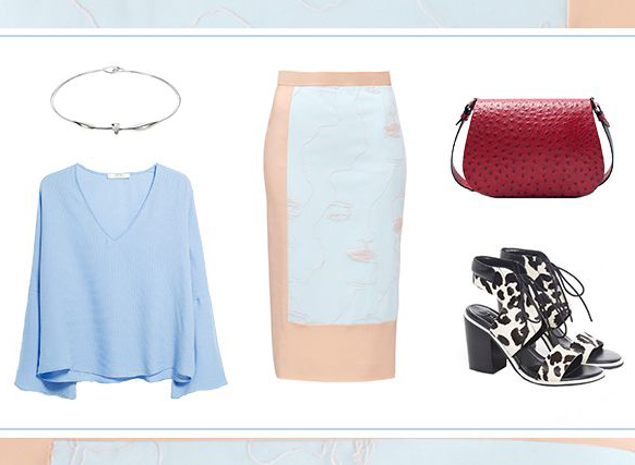 what-to-wear-for-a-spring-wedding-guest-outfit-tan-pencil-skirt-red-bag-white-shoe-sandalh-blue-light-top-blouse-choker-necklace-lunch.jpg