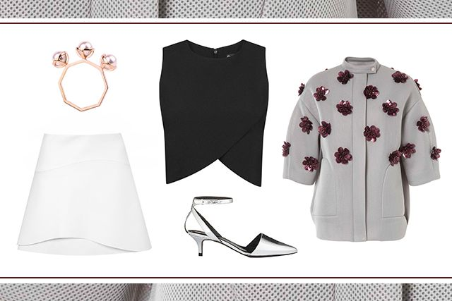 what-to-wear-for-a-spring-wedding-guest-outfit-white-mini-skirt-black-crop-top-gray-shoe-pumps-grayl-jacket-bomber-dinner.jpg