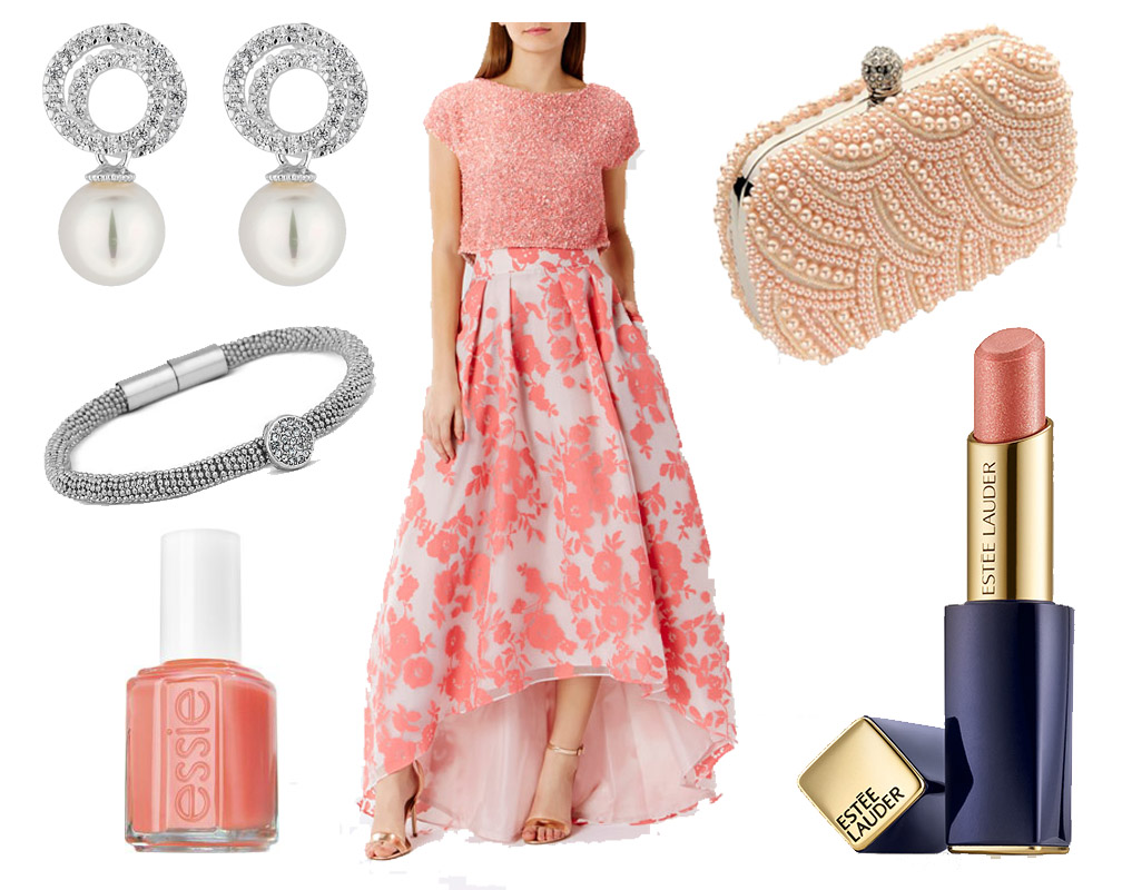 what-to-wear-for-a-spring-wedding-guest-outfit-pink-light-maxi-skirt-floral-print-pink-light-top-nail-earrings-bracelet-dinner.jpg