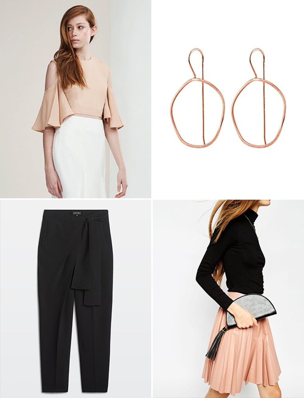 what-to-wear-for-a-spring-wedding-guest-outfit-black-joggers-pants-tan-top-earrings-dinner.jpg