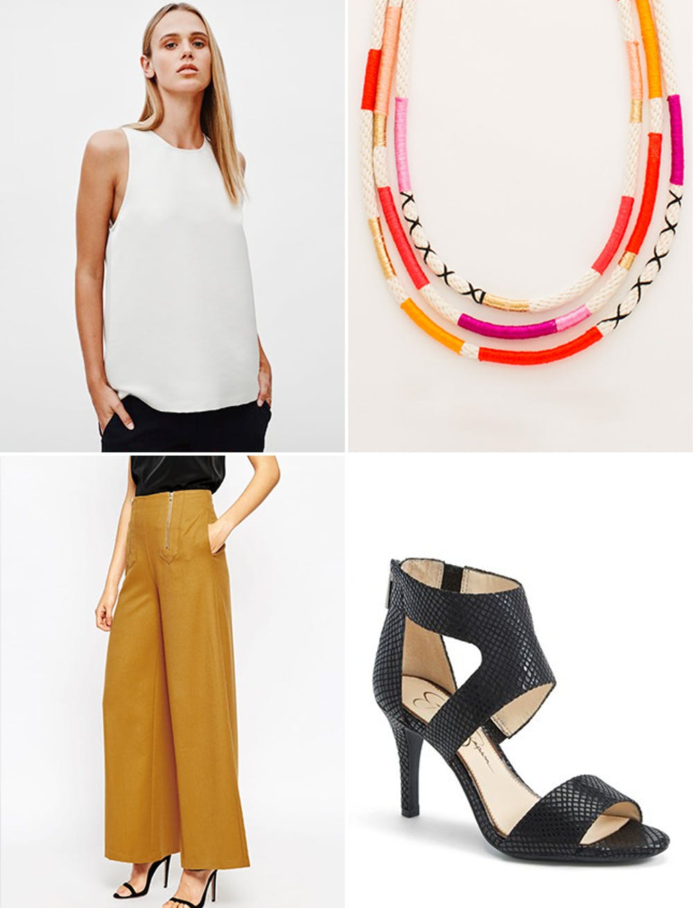 what-to-wear-for-a-spring-wedding-guest-outfit-yellow-wideleg-pants-black-shoe-sandalh-white-top-necklace-dinner.jpg