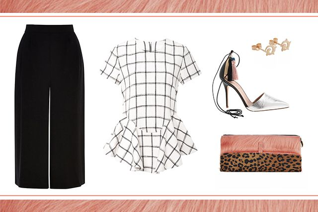 what-to-wear-for-a-spring-wedding-guest-outfit-black-culottes-pants-white-top-peplum-gray-shoe-pumps-studs-leopard-print-pink-bag-clutch-dinner.jpg
