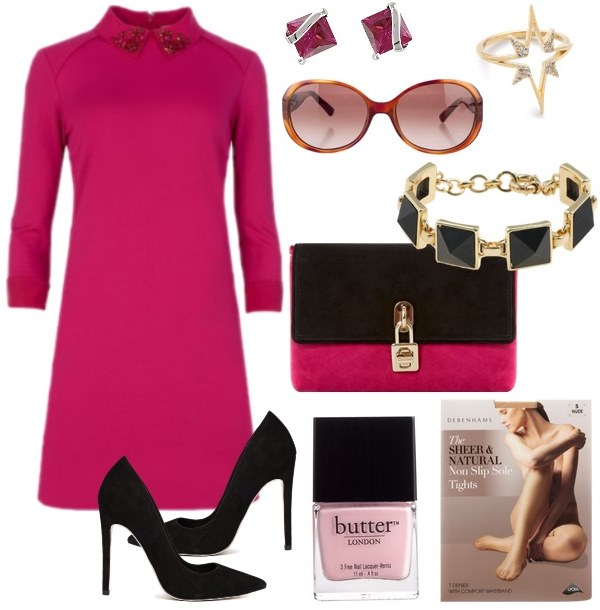 what-to-wear-for-a-fall-wedding-guest-outfit-autumn-pink-magenta-dress-mini-black-shoe-pumps-nail-pink-bag-sun-studs-bracelet-dinner.jpg
