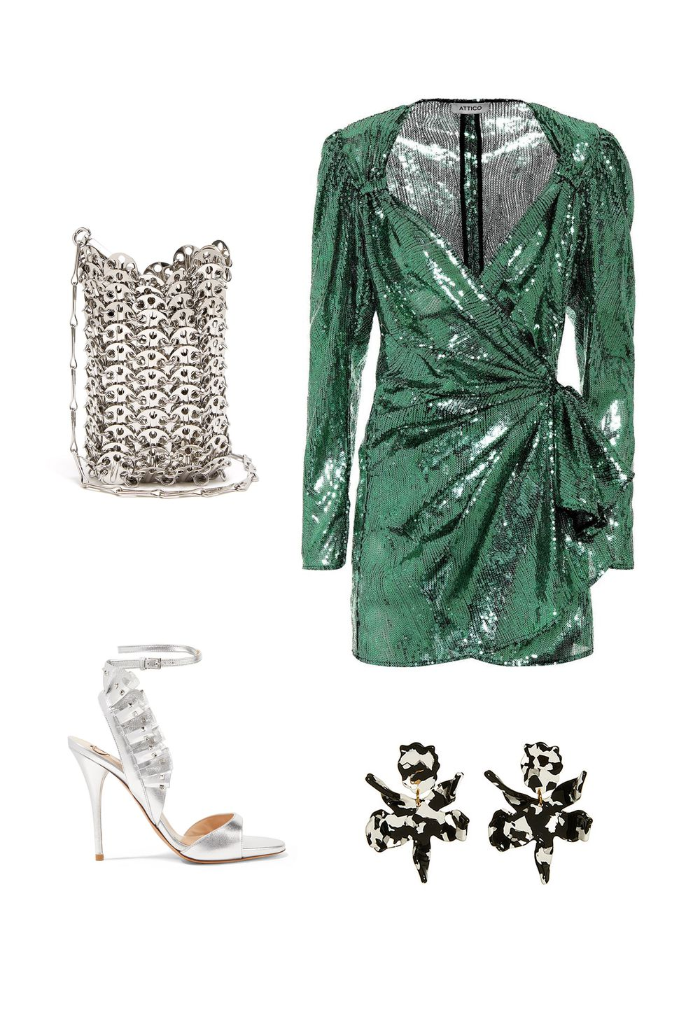 what-to-wear-for-a-fall-wedding-guest-outfit-autumn-disco-diva-green-emerald-dress-mini-sparkle-gray-bag-silver-gray-shoe-sandalh-studs-wrap-dinner.jpg