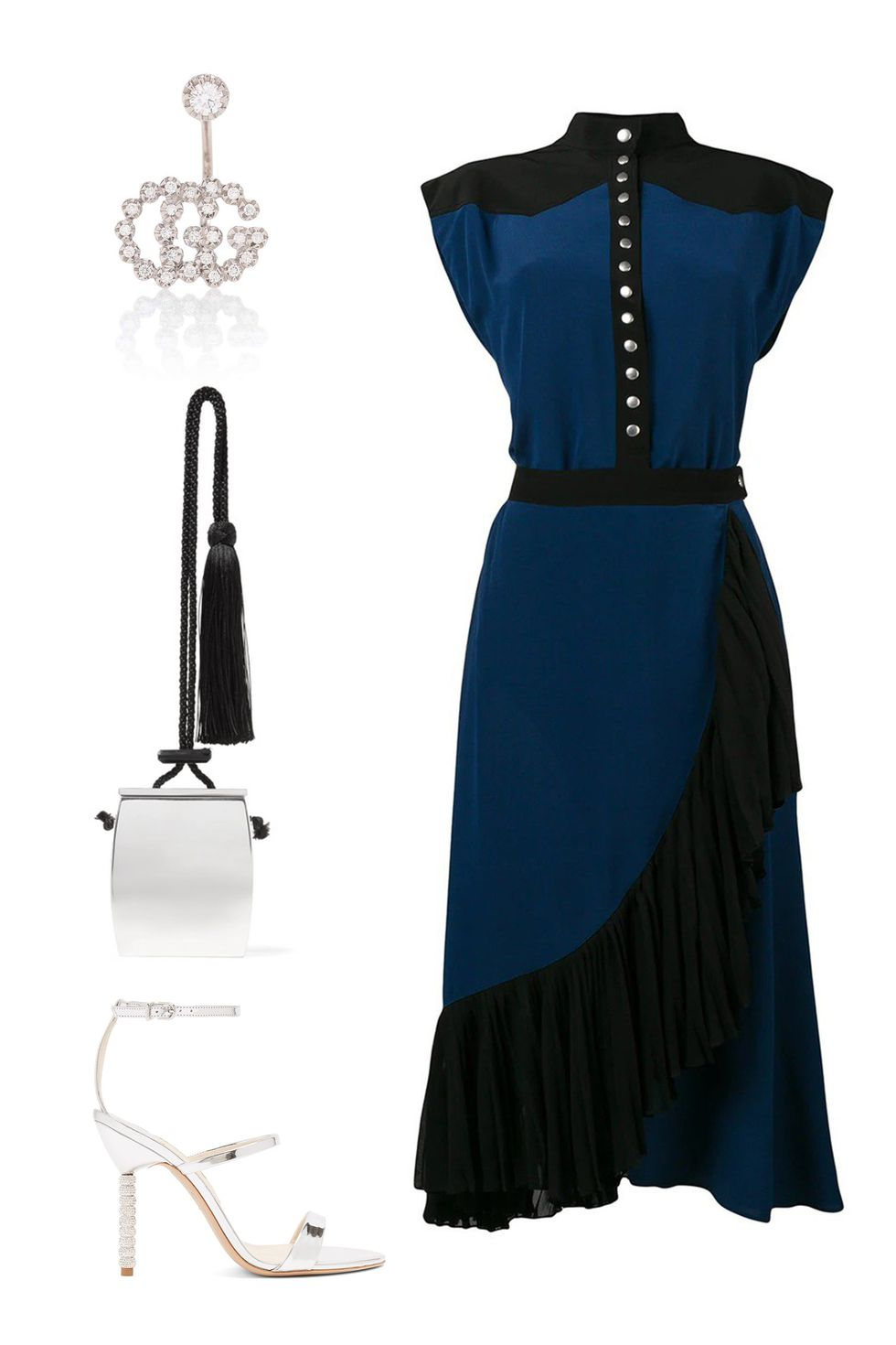 what-to-wear-for-a-fall-wedding-guest-outfit-autumn-blue-navy-dress-shirt-midi-ruffle-white-bag-white-shoe-sandalh-dinner.jpg