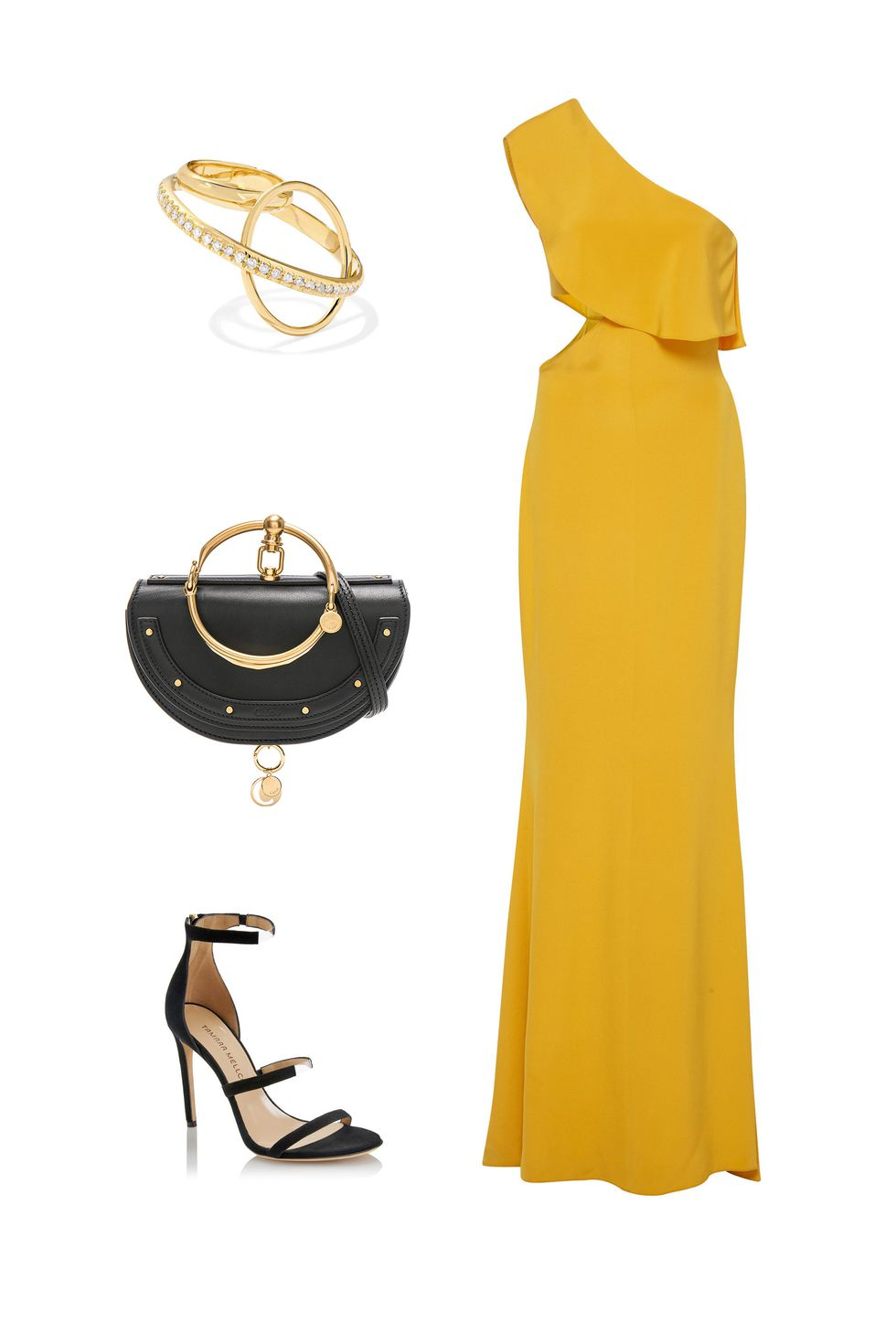 what-to-wear-for-a-fall-wedding-guest-outfit-autumn-yellow-dress-maxi-black-bag-clutch-black-shoe-sandalh-dinner.jpg