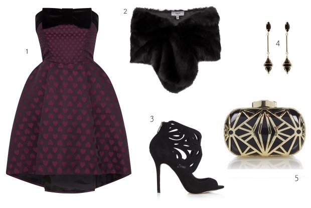 what-to-wear-for-a-winter-wedding-guest-outfit-burgundy-dress-aline-strapless-polkadot-black-scarf-fur-stole-black-shoe-sandalh-earrings-dinner.jpg