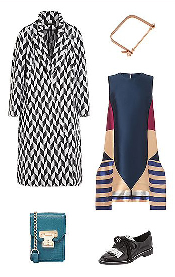 what-to-wear-for-a-winter-wedding-guest-outfit-blue-navy-dress-swing-mix-print-blue-bag-bracelet-black-shoe-brogues-white-jacket-coat-dinner.jpg