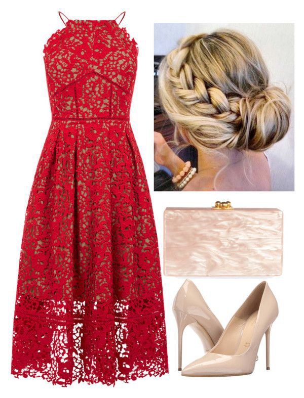 what-to-wear-for-a-winter-wedding-guest-outfit-red-dress-midi-sheer-lace-bun-blonde-tan-shoe-pumps-tan-bag-clutch-dinner.jpg