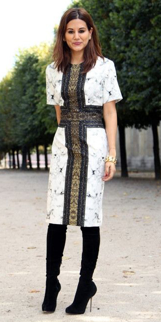what-to-wear-for-a-winter-wedding-guest-outfit-white-dress-shift-brun-black-shoe-boots-dinner.jpg