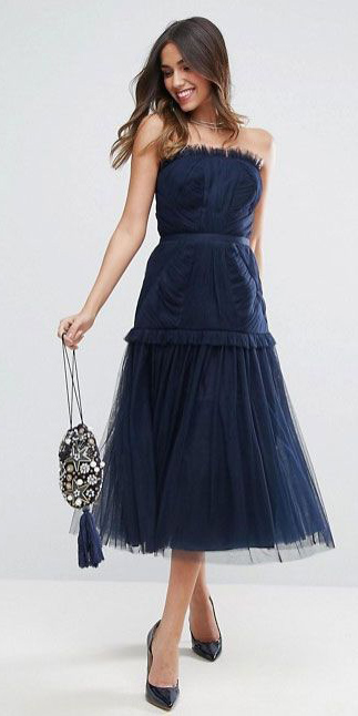 what-to-wear-for-a-winter-wedding-guest-outfit-blue-navy-dress-midi-chiffon-hairr-strapless-dinner.jpg